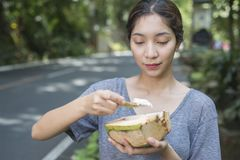 Young Lady With Coconut Royalty Free Stock Image