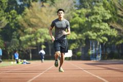 Young asian male athlete running on track. Young asian man male athlete running training exercising on track Royalty Free Stock Images