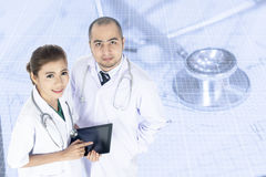 Young Asian male and female doctors Royalty Free Stock Images