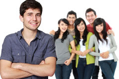 Young asian male with his friend at the background Stock Photography