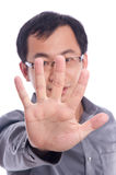 Young Asian Male Model hide using hand Royalty Free Stock Photography