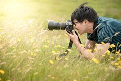 Young Asian male photographer taking photo on green field. Young Asian male photographer taking photo by DSLR camera on green field. Nature and landscape Stock Photo