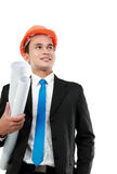 Young asian man architect. Confident Handsome young asian man architect isolated over white background stock photography