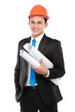 Young asian man architect. Confident Handsome young asian man architect isolated over white background stock images