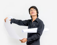 Young asian man architect looking over Royalty Free Stock Images