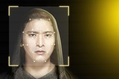 Young asian man in black hoodie using face recognition. Over dark background. Modern technology concept royalty free illustration