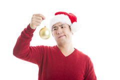 Young asian man with Christmas hat isolated on white. Royalty Free Stock Images