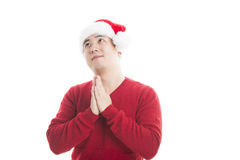 Young asian man with Christmas hat isolated on white. Stock Photography