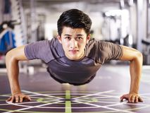 Young asian man doing push-ups in gym stock photography