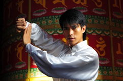 Young Asian Man In Gongfu Stance Stock Image