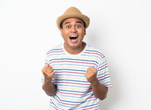 Young Asian man with hat feels shock and surprise with overly face expression. Asian man with hat feels shock and surprise with overly face expression stock images