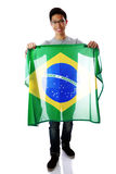 Young asian man holding Brazilian flag Royalty Free Stock Images