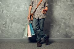 Young asian man hold shopping bag Stock Photography