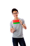 Young asian man holding flag of Belarus Stock Photography