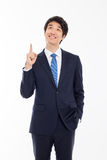 Young asian man indicated up side. Stock Photography