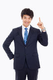 Young asian man indicated up side. Young asian man indicated up side isolated on white background stock photos
