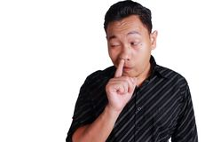 Young Asian Man Picking His Nose Royalty Free Stock Photography