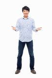 Young Asian man showing welcome sign. Stock Image