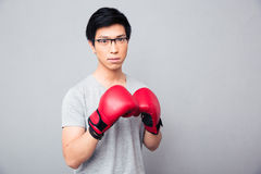 Young asian man standing in boxing gloves Royalty Free Stock Photography