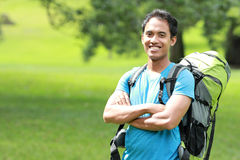Young asian man travel backpacking, outdoor Stock Photo