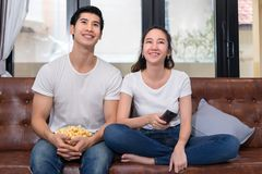 Young asian man and woman couple together stock photos