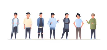 Young asian men group wearing casual clothes happy attractive guys standing together chinese or japanese male cartoon royalty free stock photography