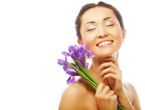Young asian model with iris flowers. Royalty Free Stock Photos