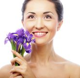Young asian model with iris flowers. Stock Photo