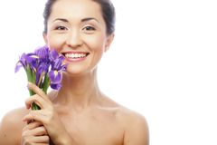 Young asian model with iris flowers. Stock Images
