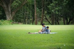 Young mother and son picnic in the park. Young asian mother and son picnic in the park stock photo
