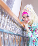 Young asian muslim woman in full decorated dress Royalty Free Stock Photos