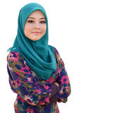 Young asian muslim woman in head scarf isolated white Royalty Free Stock Photography