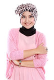 Young asian muslim woman in head scarf smile Stock Photo