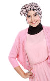 Young asian muslim woman in head scarf smile Stock Photos