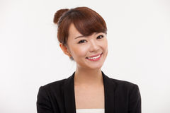 Young Asian pretty business woman close up portrai. T isolated on white background Royalty Free Stock Image