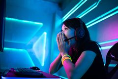 Young Asian cyber sport gamer stock photos