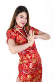 Young Asian Sexy Chinese female dress traditional. Cheongsam at Chinese New Year, isolated on white background Royalty Free Stock Image