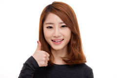 Young Asian show thumb close up shot Royalty Free Stock Photography