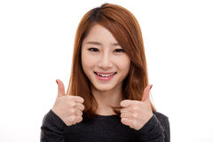 Young Asian show thumb close up shot Royalty Free Stock Photo