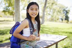 Young Asian smiling schoolgirl looking to camera, portrait royalty free stock photography