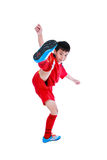 Young asian soccer player smiling. Studio shot. Isolated on whit Royalty Free Stock Images