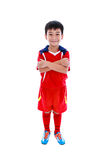 Young asian soccer player smiling. Studio shot. Isolated on whit Royalty Free Stock Photos