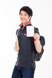 Young Asian stdudent showing card Royalty Free Stock Photos