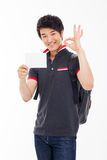 Young Asian stdudent showing card Royalty Free Stock Images