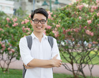 Young Asian student executive with his smiling Royalty Free Stock Photo