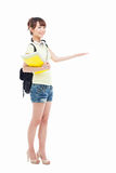 Young Asian student girl pointing side space Stock Photography