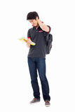 Young Asian student having a stress stock photo