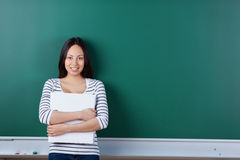 Young asian student holding binder Royalty Free Stock Photos
