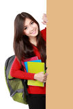Young asian student holding empty white board Stock Photo