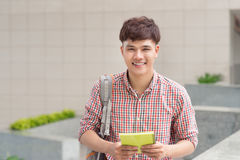 Young asian student inside university building Royalty Free Stock Photos